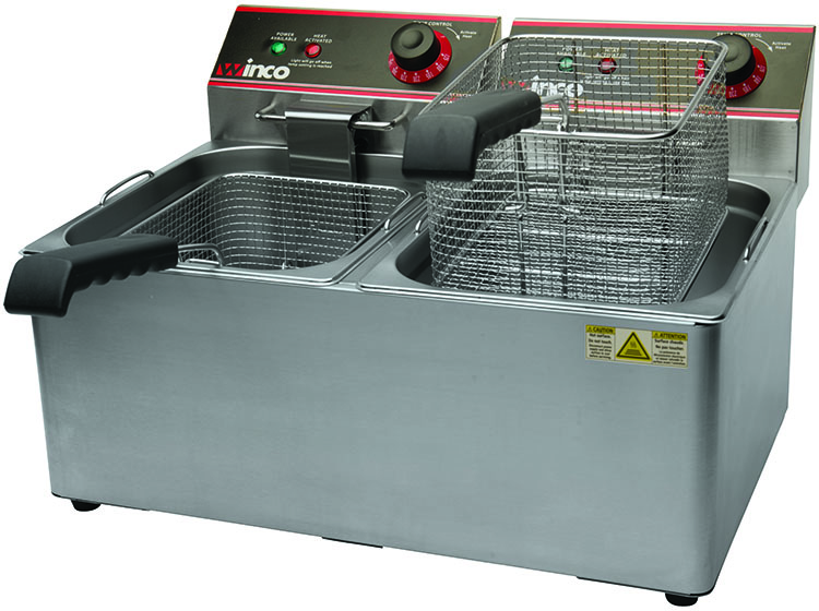 Electric Deep Fryer, Double Well, 32 lbs. Oil Capacity