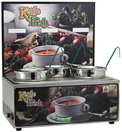 Soup Merchandiser with three 4 Qt. insets,