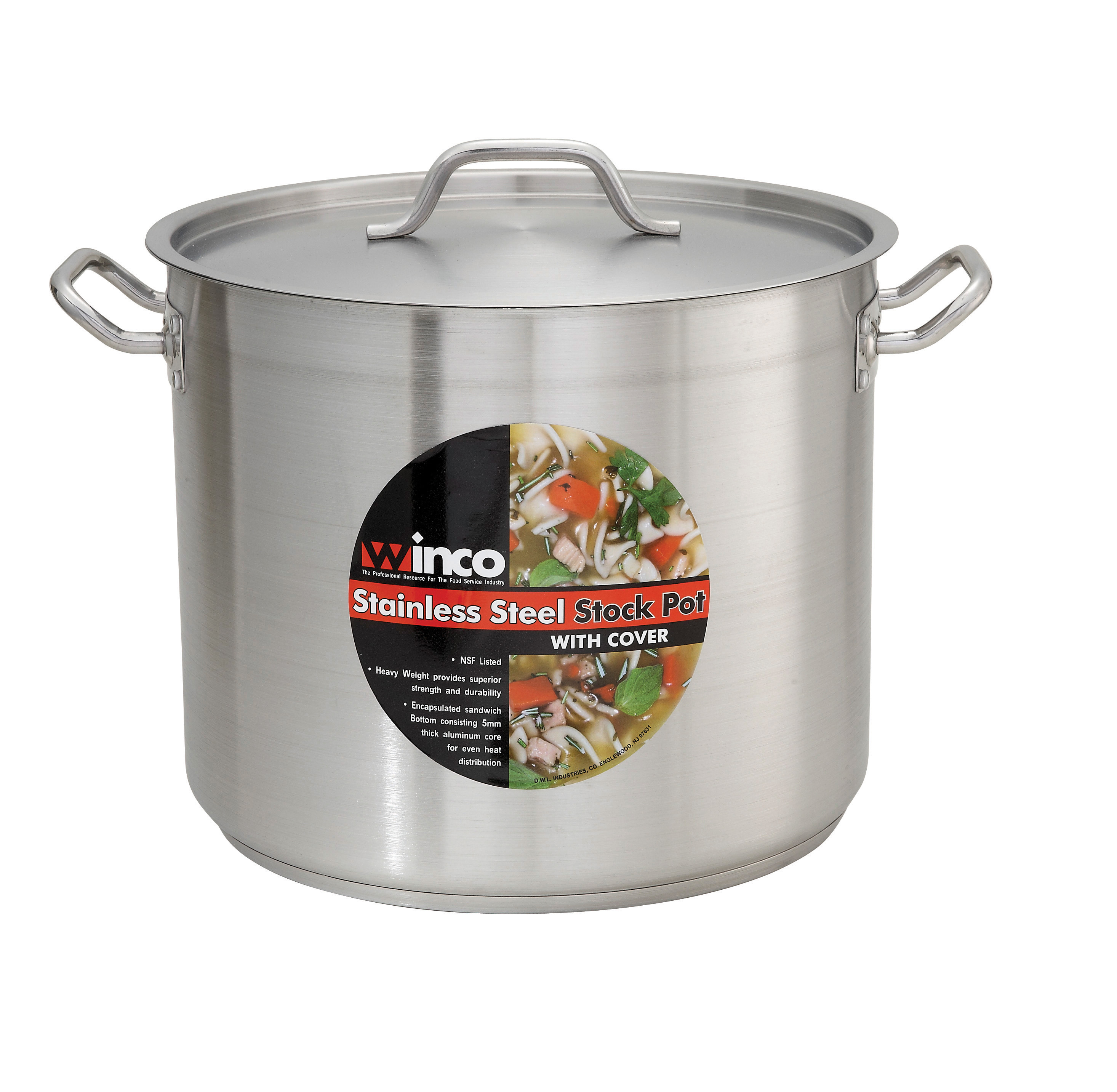 S/S Stock Pot 20 Qt w/ Cover, 11 7/8