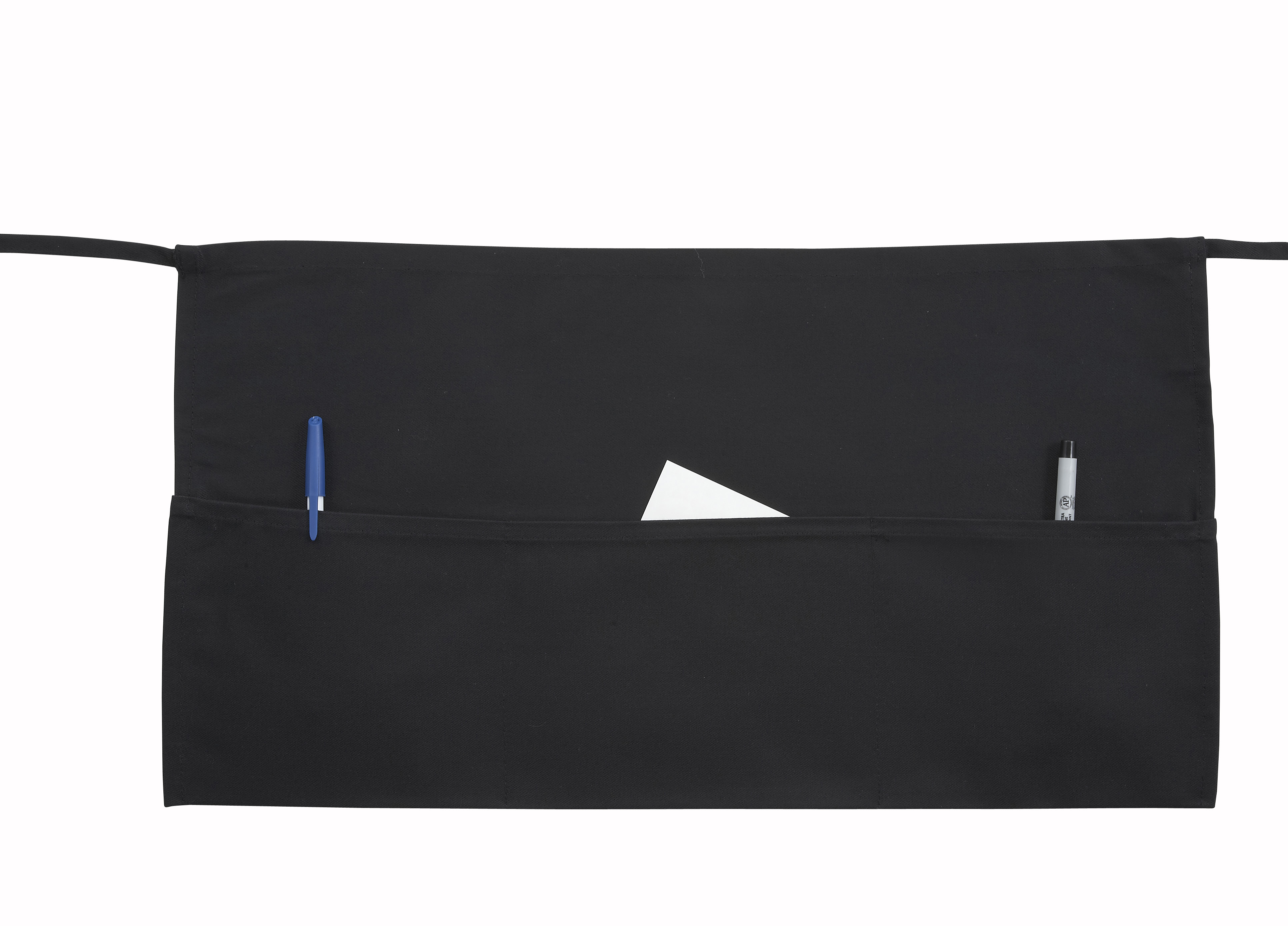 Waist Apron, 3 Pockets, Black, 21-1/2